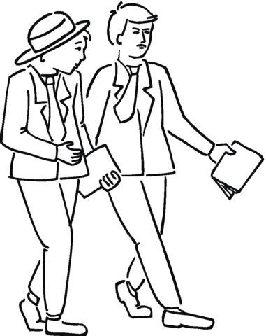 personas conversando para colorear dibujo de amigos paseando y hablando para colorear