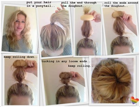 how to put in hair how use doughnut make bun medium hair styles ideas 43799
