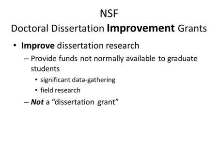 funding for dissertation research doctoral dissertation help grant nsf