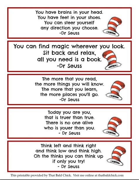 printable seuss quotes printable dr seuss quote bookmarks thatbaldchick