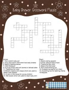 Baby shower crossword puzzle game in brown color free
