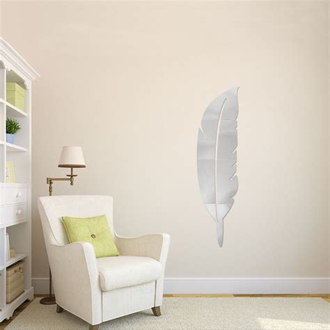 mirror murals walls diy modern plume feather acrylic mirror wall sticker home