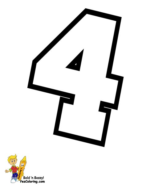 Letter Number In Alphabet free coloring pages of number4 stencil