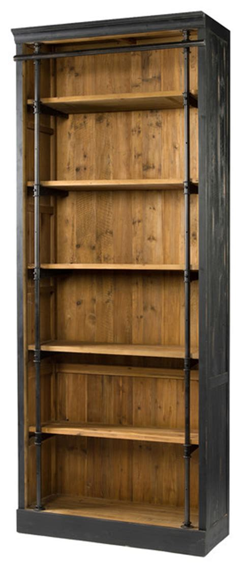 ashlyn rustic lodge pine wood metal bookcase view