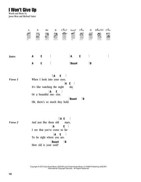 ukulele tutorial i won t give up i won t give up sheet music by jason mraz ukulele with