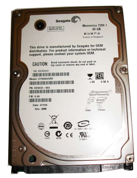 Hardisk 80 Gb Seagate seagate momentus 7200 1 st980825as hdd 80gb sata 150