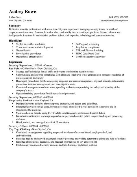 security supervisor resume samples visualcv resume samples database