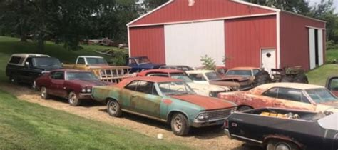 video huge barn find of american muscle cars unearthed in