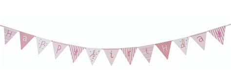 Bunting Flag Happy Birthday Banner Hbd Karakter Pink N Mix Happy Birthday Flags Banner Bunting Vintage Style Decorations