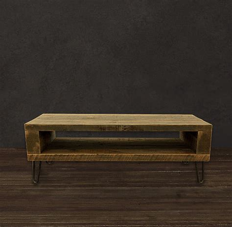 reclaimed wood coffee table open storage area modern