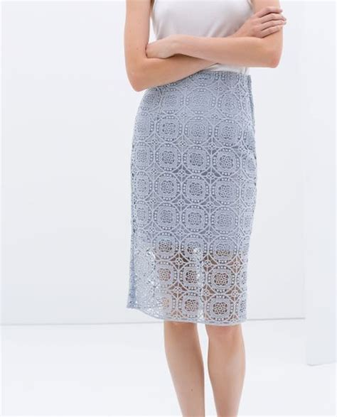 zara midi length lace skirt in blue blue lavender lyst