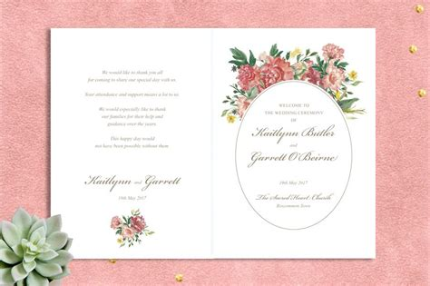 layout of wedding mass booklet watercolour garden ceremony booklet printable ceremony