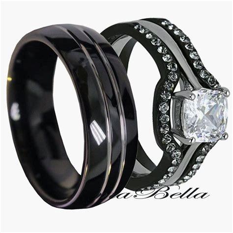 His Tungsten & Hers Black Stainless Steel 4 Pc Wedding