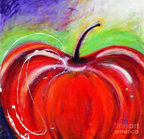 painting for mac abstract painting of a apple painting by johane amirault