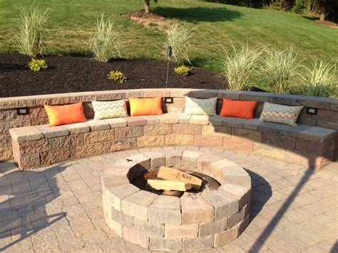 Built In Firepit Backyard Entertaining Area Outdoor Built In Pit With Retaining Wall And Built In Seating