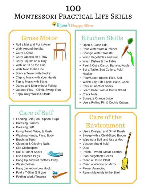 100 montessori practical skills s happy hive