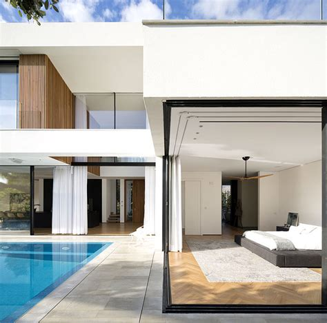 shaped house completely open pool interiorzine