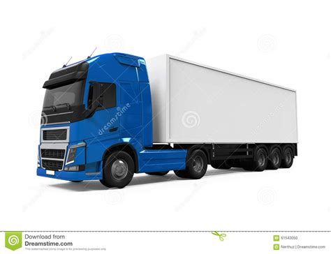 blue trailer portugues blue cargo delivery truck stock illustration image 61543050