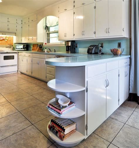 22 amazing kitchen makeovers open shelving shelving and curved end counter with open shelves bathroom