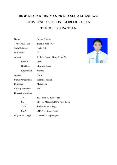 format biodata siswa lengkap biodata diri briyan pratama 23020112100025 mahasiswa