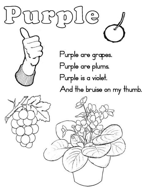 purple coloring pages preschool 10 best images of color words worksheets for kindergarten