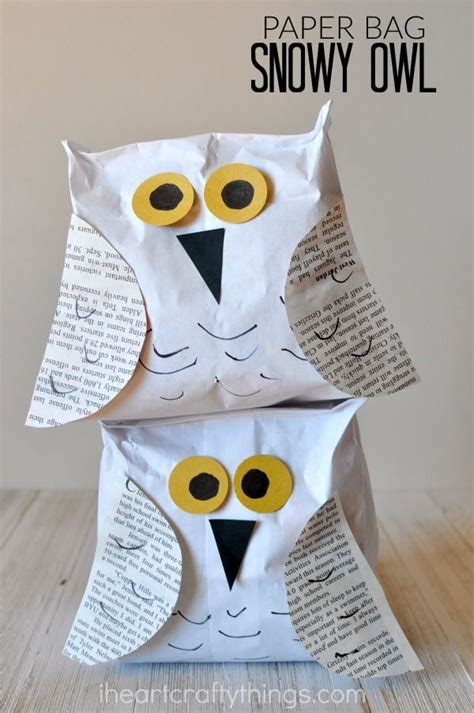 paper bag snowy owl craft owl crafts snowy owl and owl