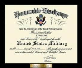 honorable discharge frames honorable discharge certificate