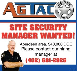 Security Site Manager by Site Security Manager Wanted Ag Tac Usa