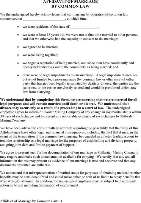 Divorce Affidavit Letter Affidavit Of Marriage Free Premium Templates Forms Sles For Jpeg Png Pdf