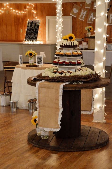 Cable spool made cake table.   cable drum   Pinterest