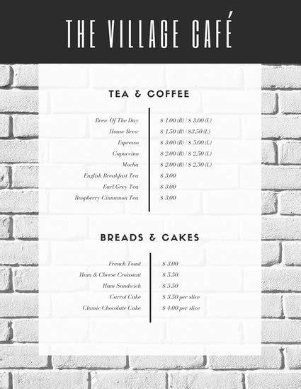 white cafe menu customize 246 bar menu templates canva