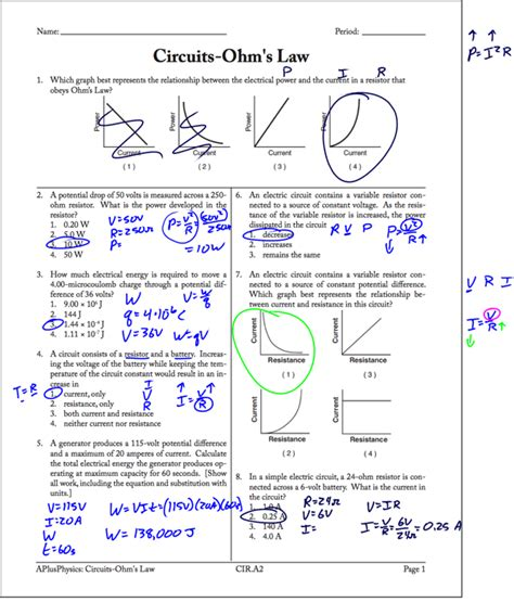 circuits resistors ws answers ohm s worksheet page 1 solutions regents physics