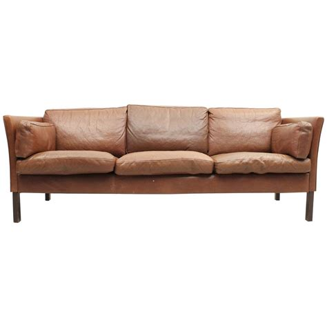 mid century modern leather sofa at 1stdibs