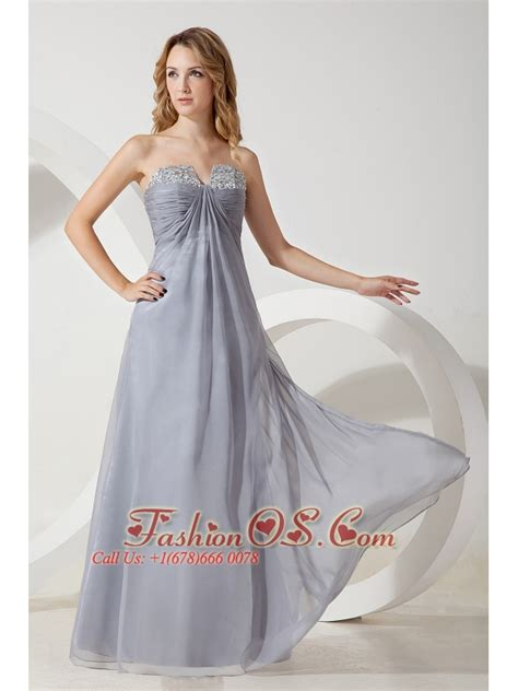 Grey With 5553 silver grey high quality chiffon strapless prom