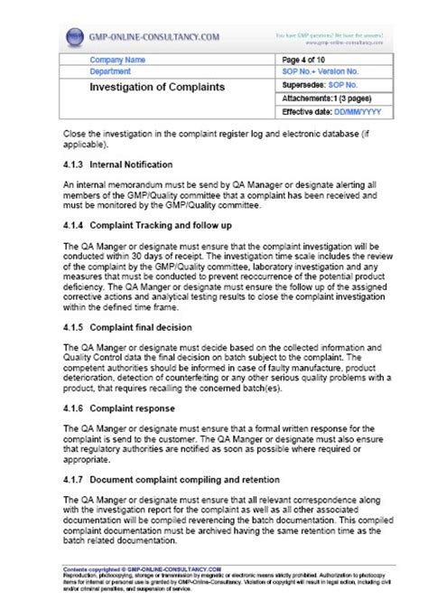 customer complaint procedure template sop complaint management