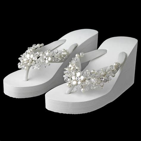 White Crystal & Freshwater Pearl Wedge Beach Wedding