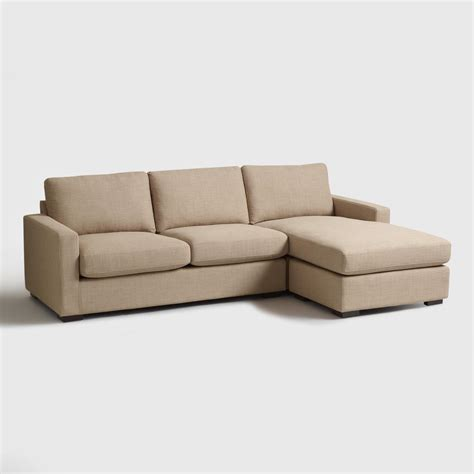 sofa taupe taupe woven upholstered burnett sofa and chaise world market