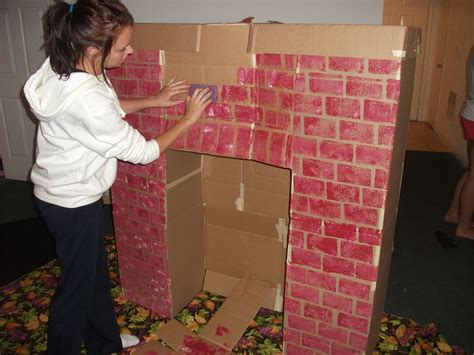 How To Make A Paper Fireplace - fireplace mantel from cardboard box for