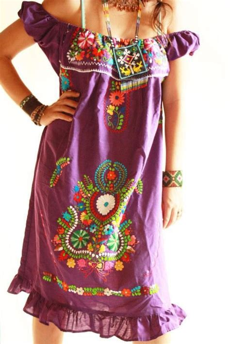 Handmade Mexican Embroidered Dresses - boho hippie the purple and purple on