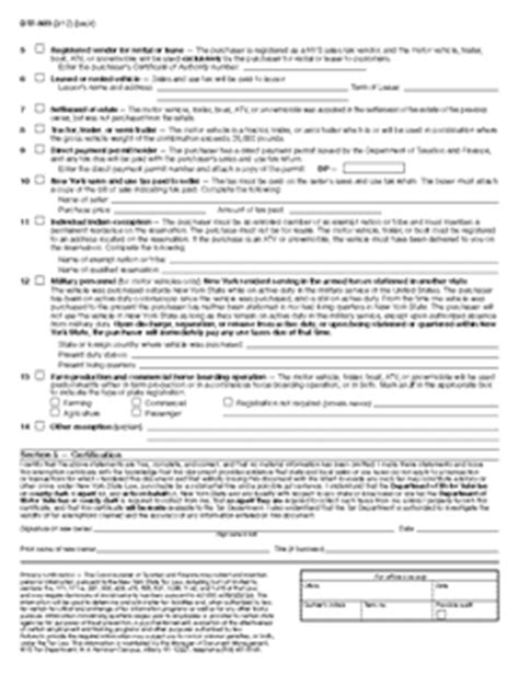 nys dmv boat trailer registration form dtf 803 claim for sales and use tax exemption title