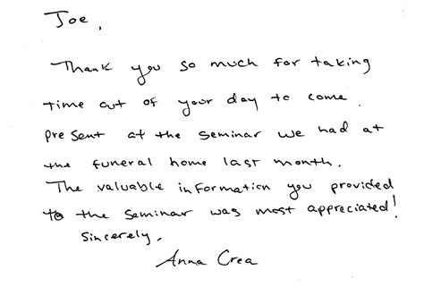 thank you letter after presentation sles thank you note after a workshop presentation new richmond