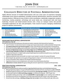 Sample Resume Objectives For Athletic Director by Athletic Director Resume Example Football Sports