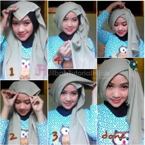Gaya Simple Segi Empat tutorial turban segi empat simple jilbab tutorial