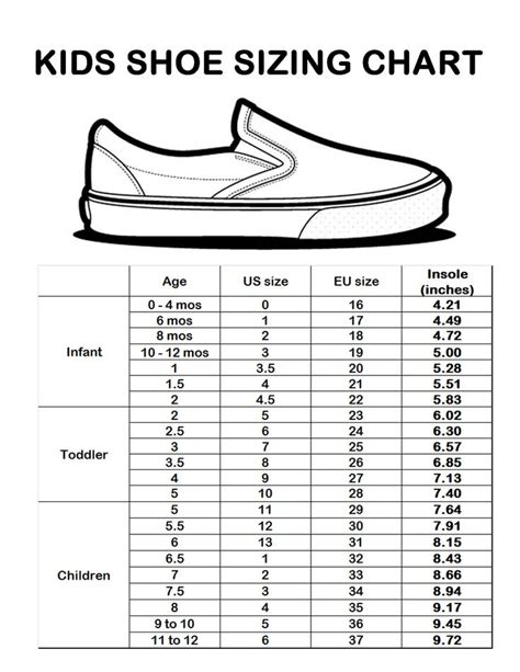 best 25 shoe size chart ideas on