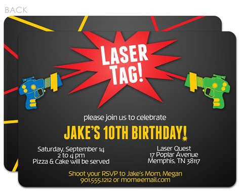 laser tag birthday party invitations bagvania