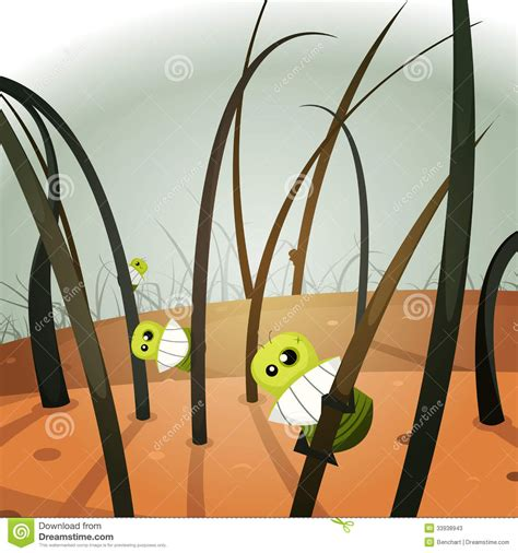 funny pubic hair lice invasion inside hairy landscape stock vector