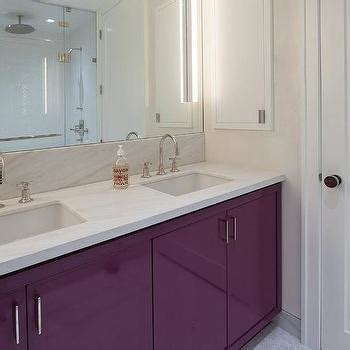 Purple Bathroom Vanity by Lacquered Washstand Transitional Bathroom Bhg