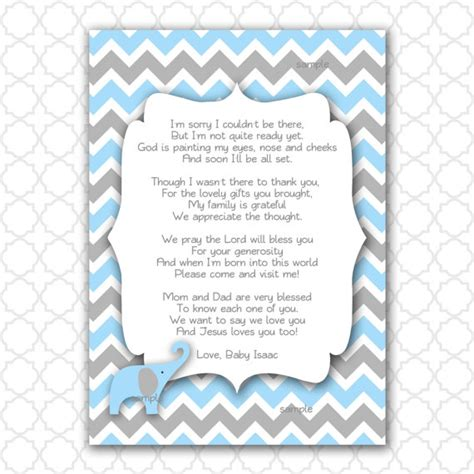 thank you note template baby shower items similar to elephant baby shower thank you note with poem color choice printable