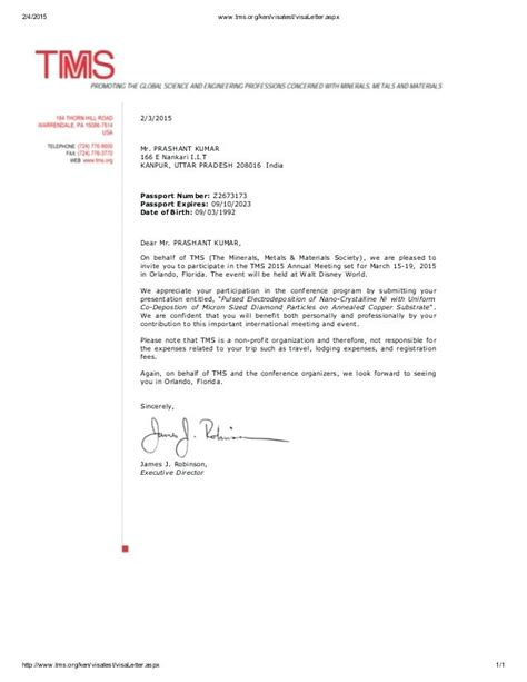 Business Visa Letter Of Invitation Sle conference visa invitation letter sle style by