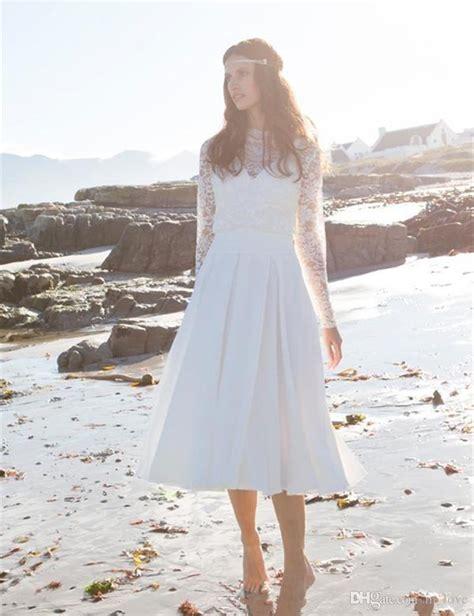 discount 2017 modern tea length casual beach wedding dress